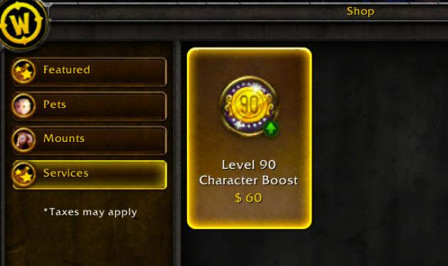World of Warcraft Level 90 Level Boost $60